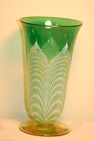 Durand Quezal glass pulled feather vase C:1930