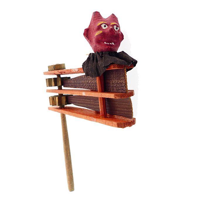 Vintage Halloween German Composition Devil Wood Ratchet Noisemaker