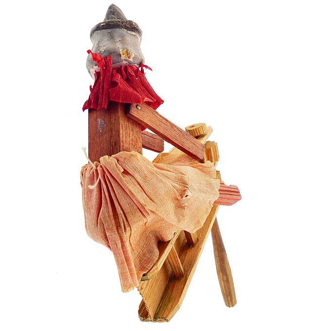 Vintage Halloween German Composition Witch Wooden Ratchet Noisemaker
