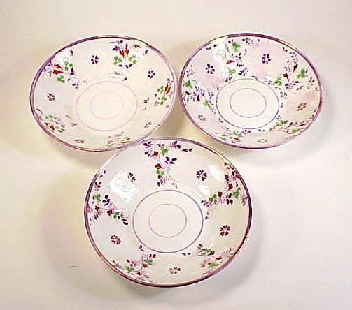 3 English Regency Porcelain Pink Luster Tea Saucers