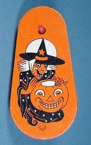 Tin Litho Halloween Witch Ratchet Noisemaker