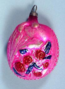 German Glass Roses Christmas Ornament