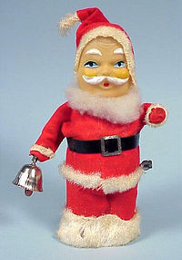 Vintage Wind-Up Santa w/ Bell Christmas Toy