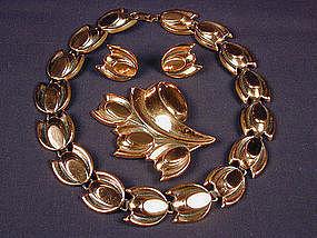 Renoir Copper Necklace, Pin, Earring Demi Parure