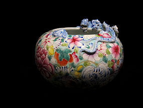 Chinese 19th C. Famille Rose Millefleur Brush Washer