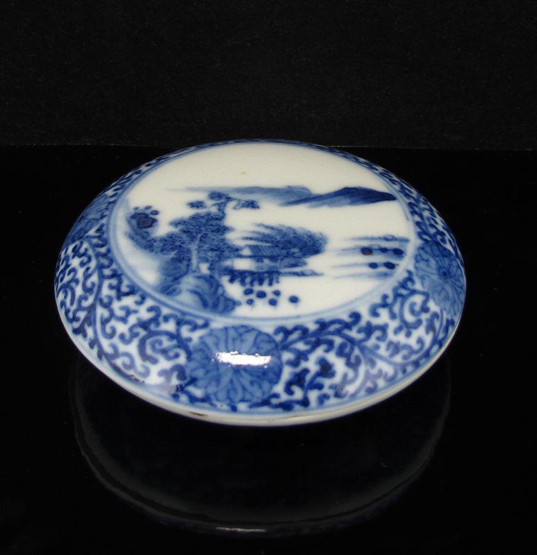 19TH C KANGXI MARK BLUE & WHITE LANDSCAPE INK PASTE BOX