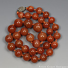 1920S REPUBLIC CARNELIAN / RED AGATE BEADED NECKLACE