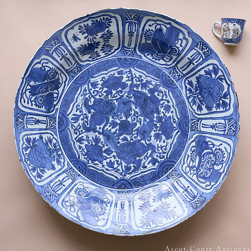 52 cm Huge Ming Wanli Kraak Porselein Blue and White Charger