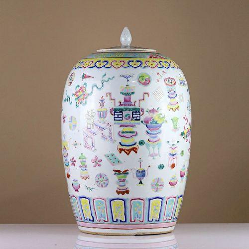 19th c Late Qing Famille Rose 'Hundred Treasures' Porcelain Ginger Jar