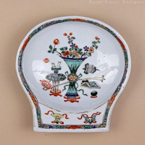 18th Century Kangxi Famille Verte Export Porcelain Porringer Bowl