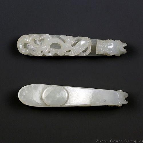 19th Century Qing Khotan Mutton's Fat White Jade Qilong Belt Buckle