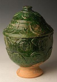 Yuan Dynasty, Chinese Green Glazed Pottery Jar