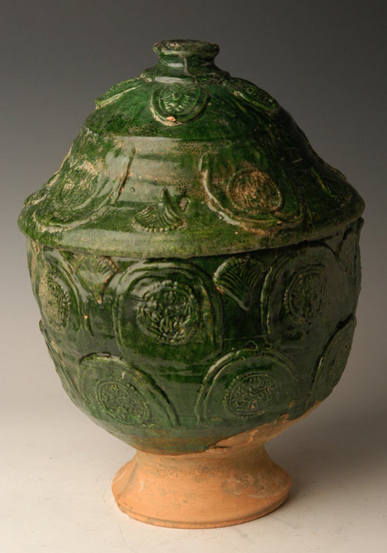 Yuan Dynasty, Chinese Green Glazed Pottery Jar