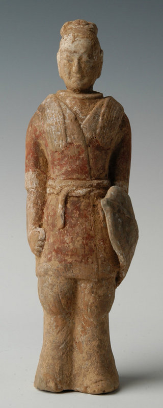 Chinese Painted Pottery Warrior Holding Shield
