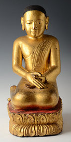 17th - 18th Century, Shan, Burmese Wooden Seated Disciple