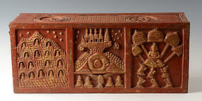 19th Century, Thai Lanna Wooden Bible Chest with Design on 5 Sides