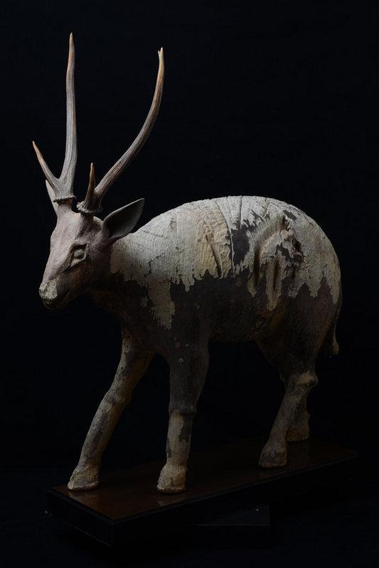 19th Century, Thai Wooden Walking Deer with Genuine Deer Horn