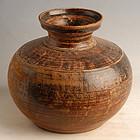 Sankampaeng Thai Pottery Brown Glazed Jar