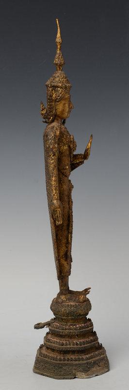 19th Century, Rattanakosin, Thai Bronze Standing Crowned Buddha
