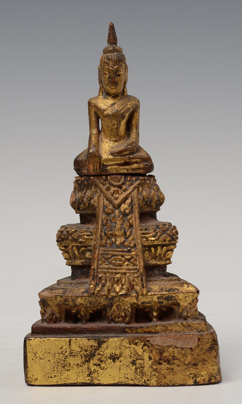 19th Century, Rattanakosin, Thai Wooden Seated Buddha