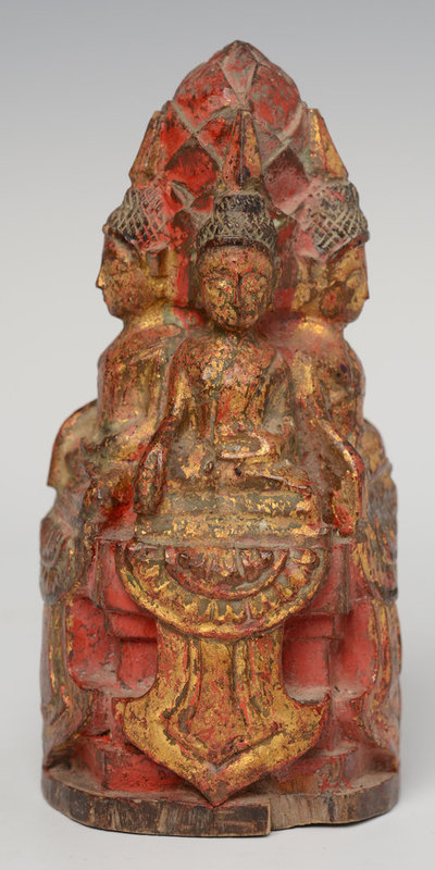19th Century, Lanna Thai Wooden of Five Seated Buddhas