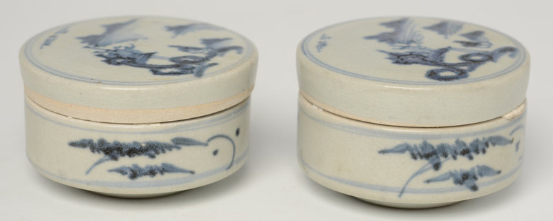 17th C., Ming, Chinese Blue and White Covered Box