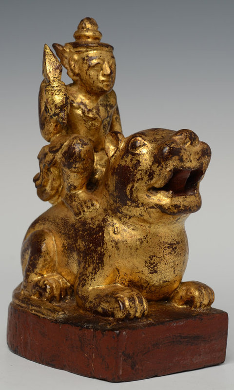 Early 20th Century, Burmese Wooden Angel Riding Tiger