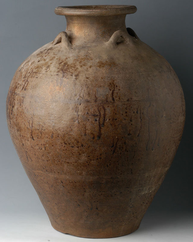 14th-16th C., Sukhothai Pottery Brown Glazed Jar