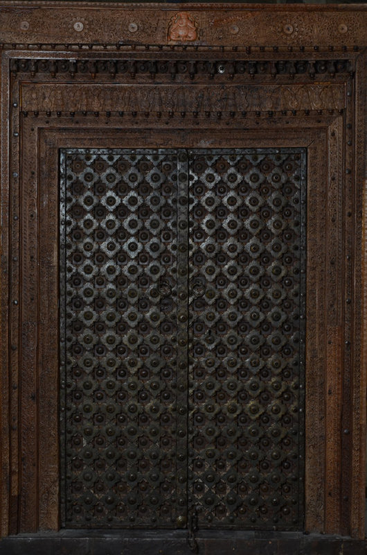 19th Century, A Set of Indian Wooden Doors with Bronze Decoration