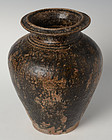 12th - 13th Century, Bayon, Khmer Dark-Brown Glazed Pottery Vase