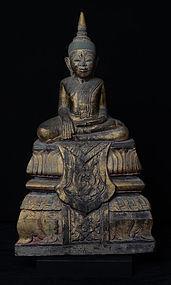 17th Century, RARE Khmer Sandstone Seated Buddha