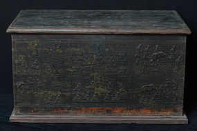 19th Century, Burmese Wooden Chest with Lacquer Design