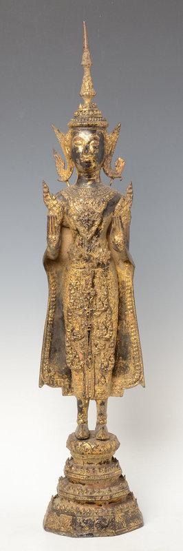 19th C., Rattanakosin, Thai Bronze Standing Crowned Buddha