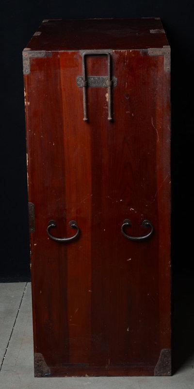 Late 19th C., Meiji, Japanese Wooden Clothing Chest (Sendai-Tansu)
