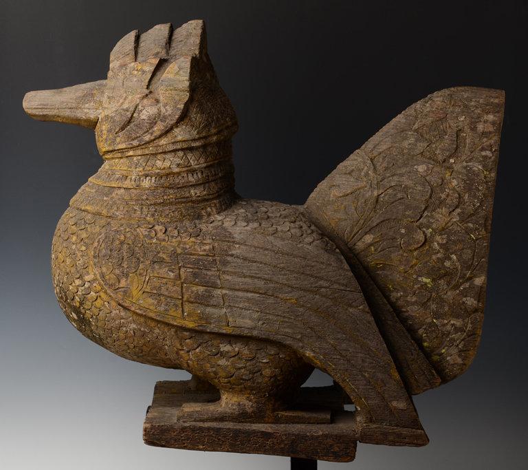 19th C., Mandalay, Burmese Wooden Standing Peacock