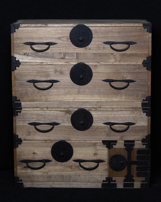 Taisho, Japanese Wooden Clothing Chest (Sendai-Tansu)