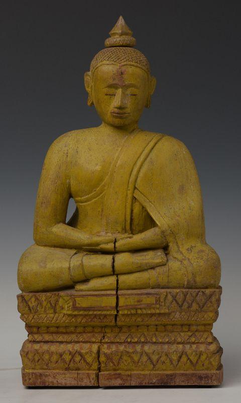 19th Century, Khmer Wooden Seated Buddha