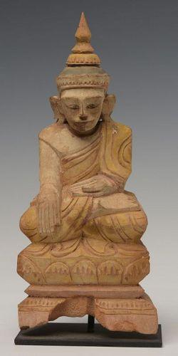 19th Century, Tai Yai Burmese Wooden Seated Buddha