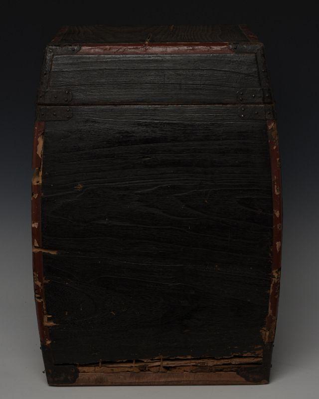 19th Century, Edo, Japanese Wooden Samurai Armor Case with Leather