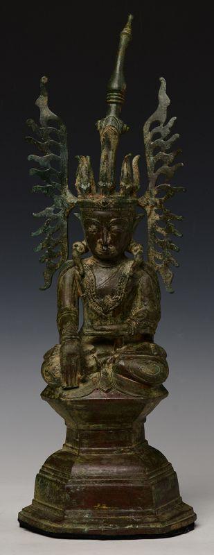 17th Century, Shan, RARE Burmese Bronze Seated Crowned Buddha