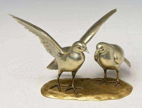 Early 20th C., Showa, A Pair of Rare Japanese Bronze Okimono Birds