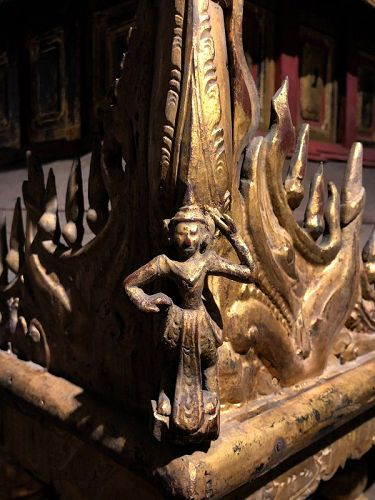 19th C., Burmese Wooden Model of The Palace with Gilded Gold Part 2