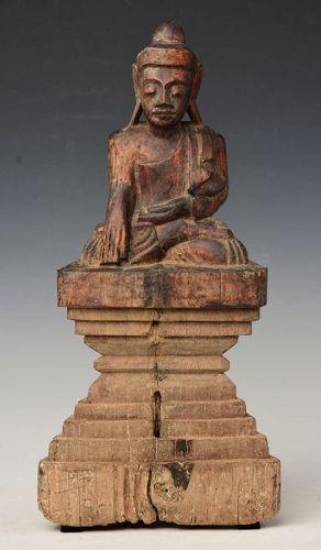 18th Century, Shan, Burmese Wooden Seated Buddha