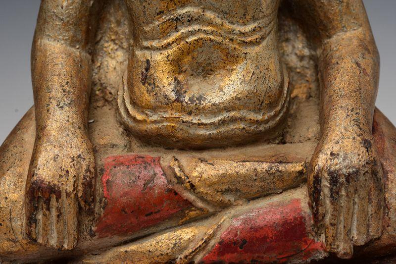 19th Century, Thai Wooden Seated Happy Buddha