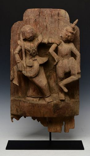 18th Century, Shan, Burmese Wooden Panel with Figures Design