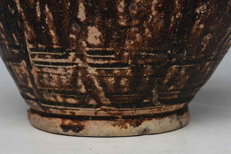 12th - 13th Century, Bayon, Khmer Dark-Brown Glazed Pottery Jar
