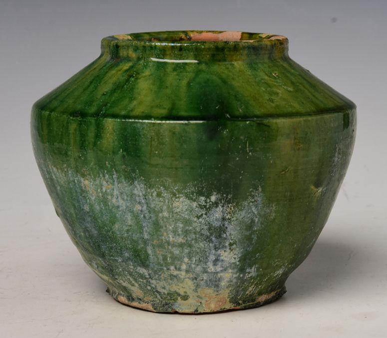 Han Dynasty, Chinese Green Glazed Pottery Jar