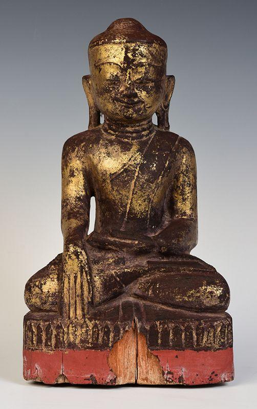 17th Century, Shan, Burmese Wooden Seated Lotus Buddha