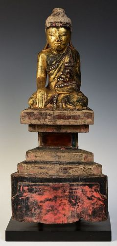 Early 19th Century, Tai Yai Burmese Wooden Seated Buddha