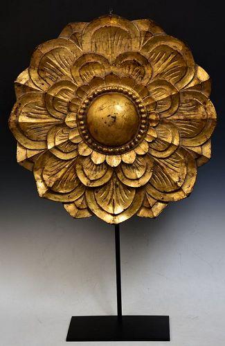 19th Century, Mandalay, Large Burmese Wooden Flower Decoration